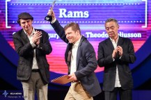 "Best Actor Silver Simorgh was shared by Icelandic actors Sigurður Sigurjónsson and Theódór Júlíusson for ther role in ""Rams"" at the 34th Fajr International Film Festival held at Tehran's Vahdat Hall, Iran (Photo credit: Ali Najib / ISCA News)"