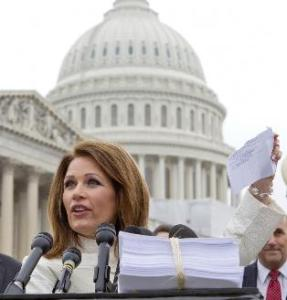 Rep. Bachmann speaks at a press conference on the second anniversary of Obamacare's passage
