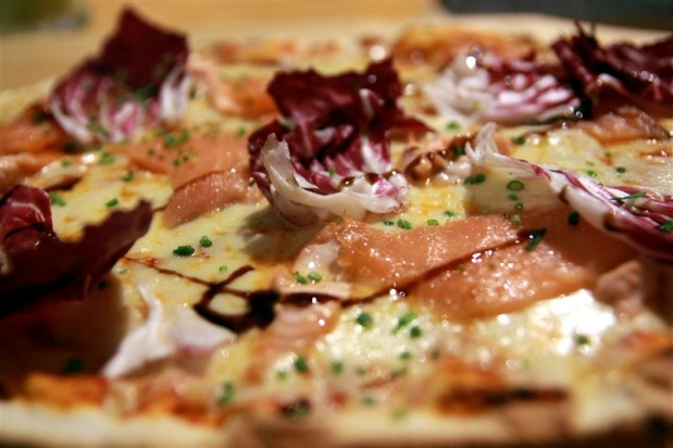 "Salmon ""two ways"" (smoked & grilled), brie & radicchio pizza - mmm"