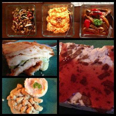 Our fabulous dinner. Three Turkish salads, cheese & leek slice, chicken with mushroom sauce and ice-cream to die for.