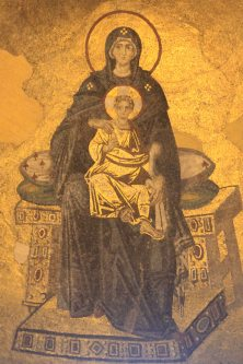 Byzantine mosaic of Mary & Christ above the apse
