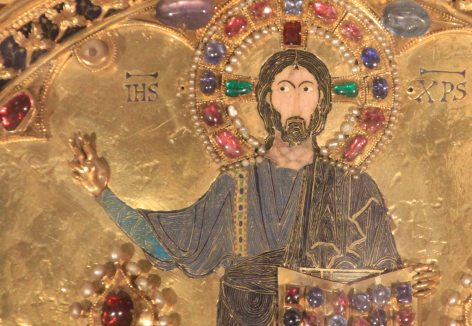Close up of Jesus from the Pala D'Oro - the South Park version! Behind the altar at the Basilica di San Marco, the exquisite Pala d'Oro is a gold, enamel and jewel-encrusted altarpiece dating from 976, covered in pearls, emeralds, rubies, amethysts, sapphires, and more.