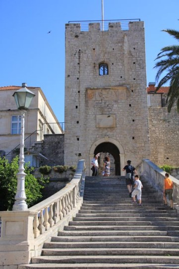 The main entrance. There once was a wooden drawbridge here. This was the tower I climbed for the view.