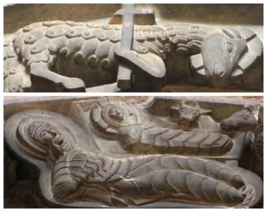 Close up view of the suspended stone reliefs