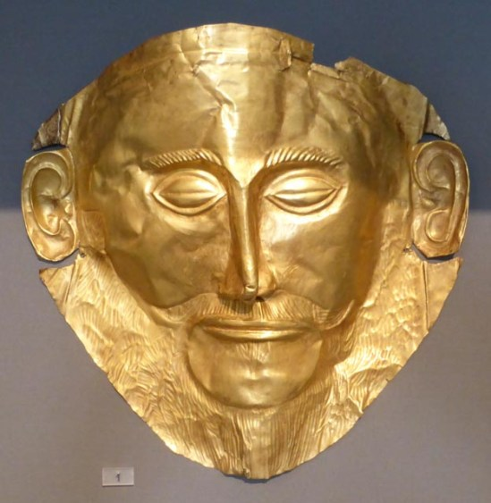 One of the famous gold masks from Mycenae