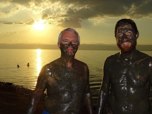 The Dead Sea - coated in 'therapeutic' Dead Sea mud