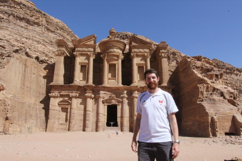 """Petra - Rob in front of the """"Monastery"""" (more likely a Nabatean temple)"""