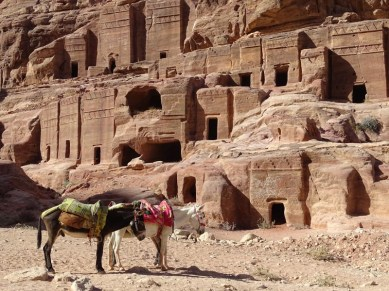 Petra - the common people were buries in plain tombs cut into the rock.