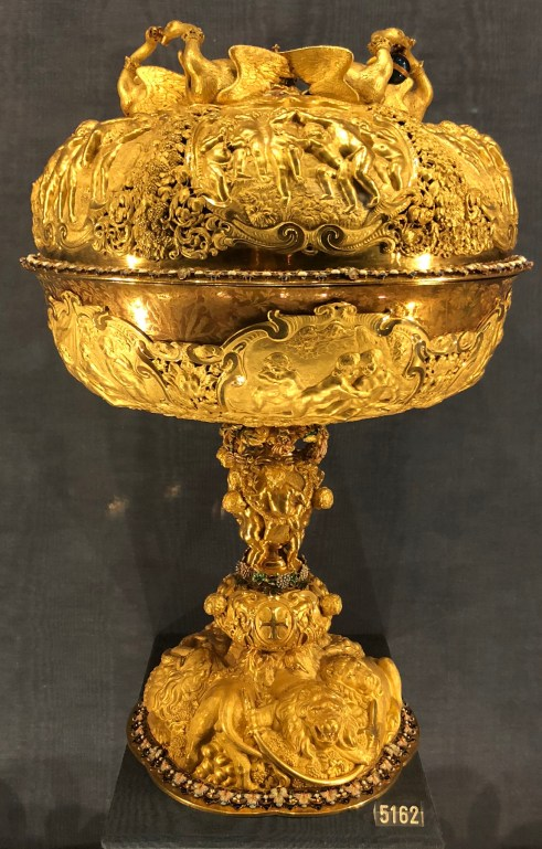 The so-called Coronation Cup of Frederik III. The cup was made by H.C. Brechtel in The Hague, 1653. It is possible that it was to have been used, in a planned but never realised, swearing of allegience to Frederik III in Hamburg, 1654.