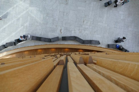 Image of the lobby of the Olso Opera House looking down from above