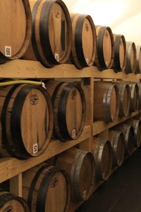 Apple brandy aging in oak barrels