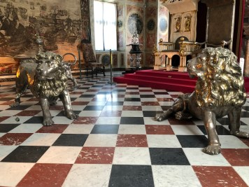Two of the 3 silver lions guarding the throne. Made l665-1670 in Copenhagen. Thought to be inspired by the stories of King Solomon from The Old Testament, in whose court there were 12 golden lions protecting the throne.