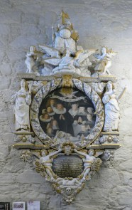"""One of 5 """"epitaphs"""" , carved and painted in 1676"""