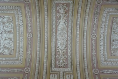 Intricate trompe-l'oeil ceiling (it looks raised but it's all paint)
