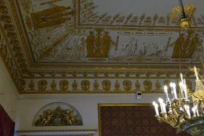 Ceiling in the Red Drawing Room, with painting representing scenes from Homer's Iliad
