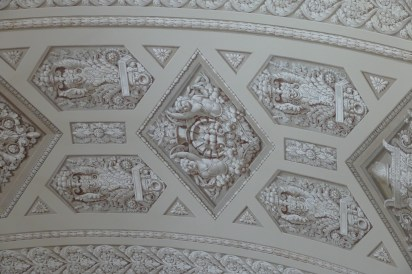 Grisaille painting on the ceiling (Grisaille is a method of painting in grey monochrome, typically to imitate sculpture.)