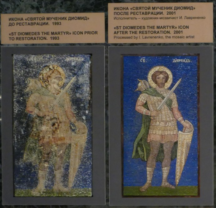 Photo of a photo showing the before and after of the restoration.
