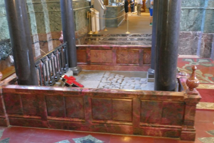 The is a blurry terrible photo but it's the only one we have. It was dark and we were being ushered out. This is the pavement (now a shrine) on which Tsar Nicholas II's blood was spilled.