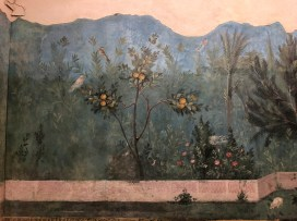 Livia was the wife of Augustus and the mother of Tiberius. These frescoes covered the walls of a garden dining area in her villa just outside Rome. They depict a garden landscape with incredible realism.