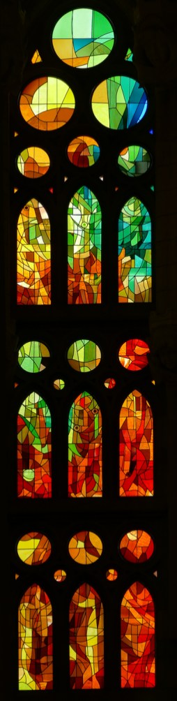 The glazing was inspired by Gaudí but designed by glass artist Joan Vila-Grau.