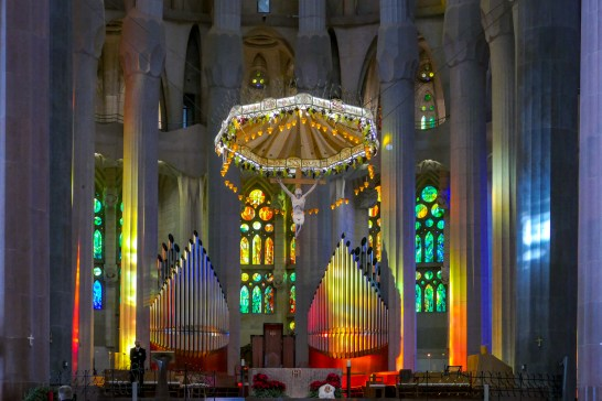 As the afternoon wore on, the light reached into the altar and shone on the organ pipes.