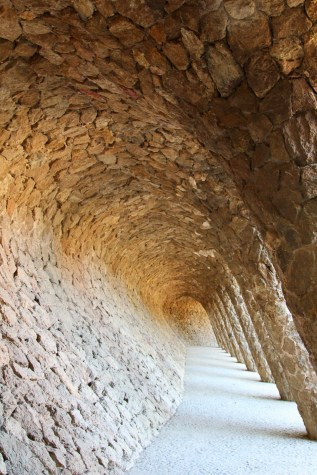 Gaudí was inspired by nature, and his two level colonnades (planned for vehicles and pedestrians) are great examples of that. An arcade shaped like a perfect surfing tube leads to a spiral ramp which leads to the former house of Gaudí's patron Eusebi Güell, now a school.