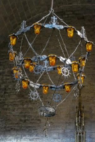 Unusual wrought iron chandeliers