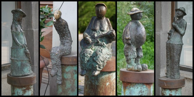 Some 50 small sculptures of local characters by Georgian sculptor Levan Bujiashvili line Rustaveli Street
