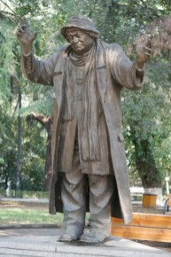"The bronze monument depicting the actor Ramaz Chkhikvadze as a village judge Azdak from the well-known play by Bertolt Brecht ""The Caucasian Chalk Circle"""