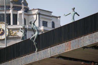 Part of a sculptural composition called Youth by Giorgi Japaridze on Baratashvili' Bridge