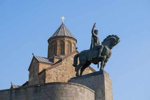 The statue of King Vakhtang Gorgasali, who is credited with the foundation of Tbilisi in the 5th century.