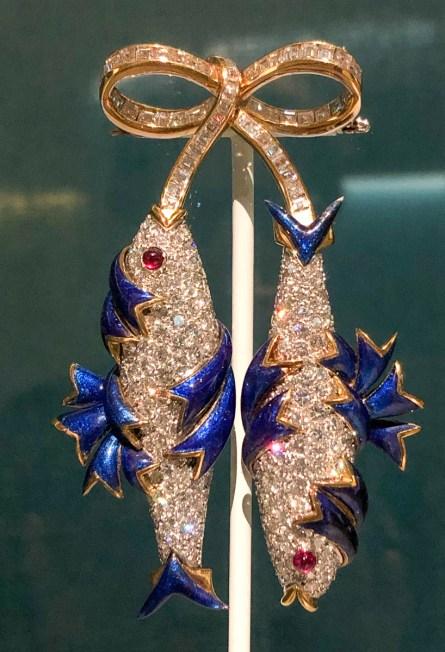 Pisces 1965, Platinum, 18-karat gold, diamonds, rubies, and paillonné enamel