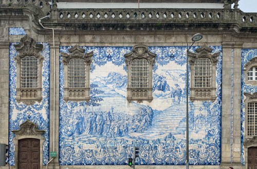 Stunning azulejos on the church facade