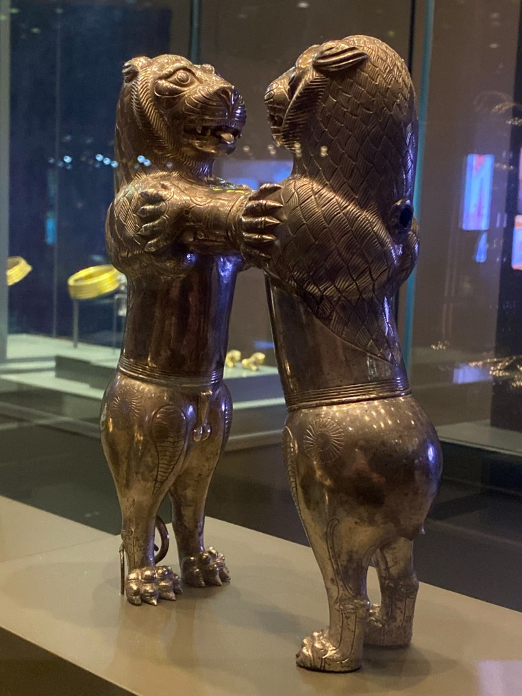 Silver Pouring Vessel in the form of two lions. Western Iran, late 7th to early 6th century BCE