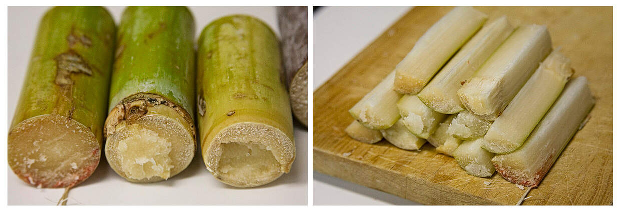Sugar cane, known in Spanish as caña. Learn how to make ponche navideño at theothersideofthetortilla.com.