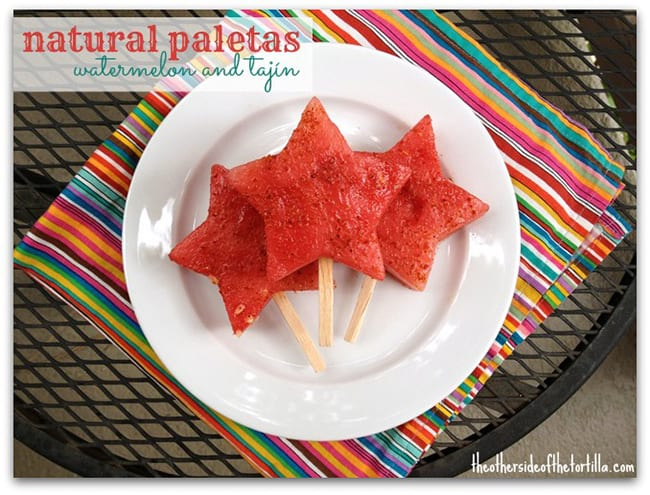 Natural paletas made with watermelon and Tajín