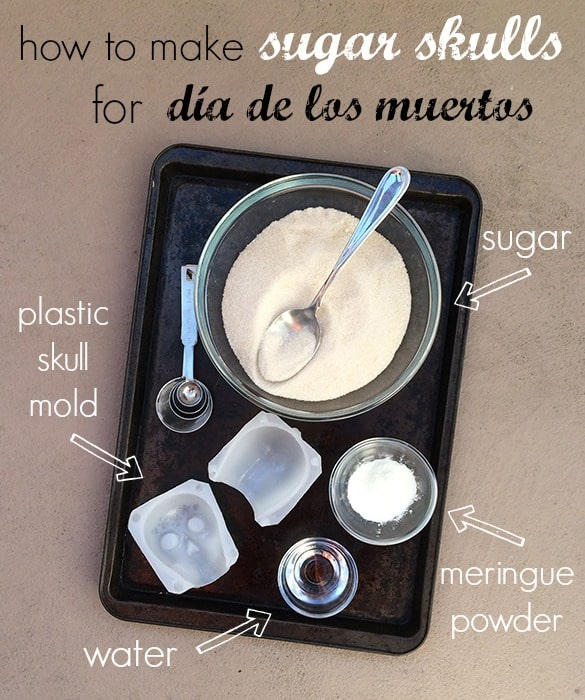 Ingredients to make sugar skulls for Day of the Dead