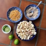 Ingredients for making spicy Mexican-style street popcorn