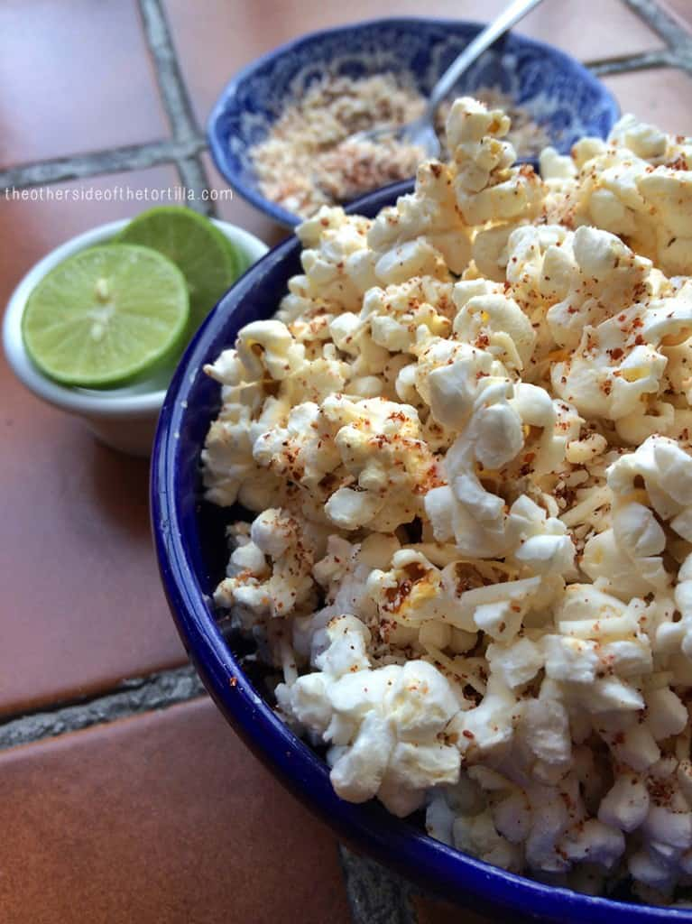 popcorn with lime, chile powder and cotija cheese