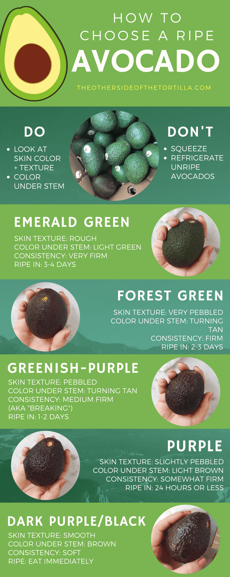 A guide on how to choose ripe avocados every time, via theothersideofthetortilla.com