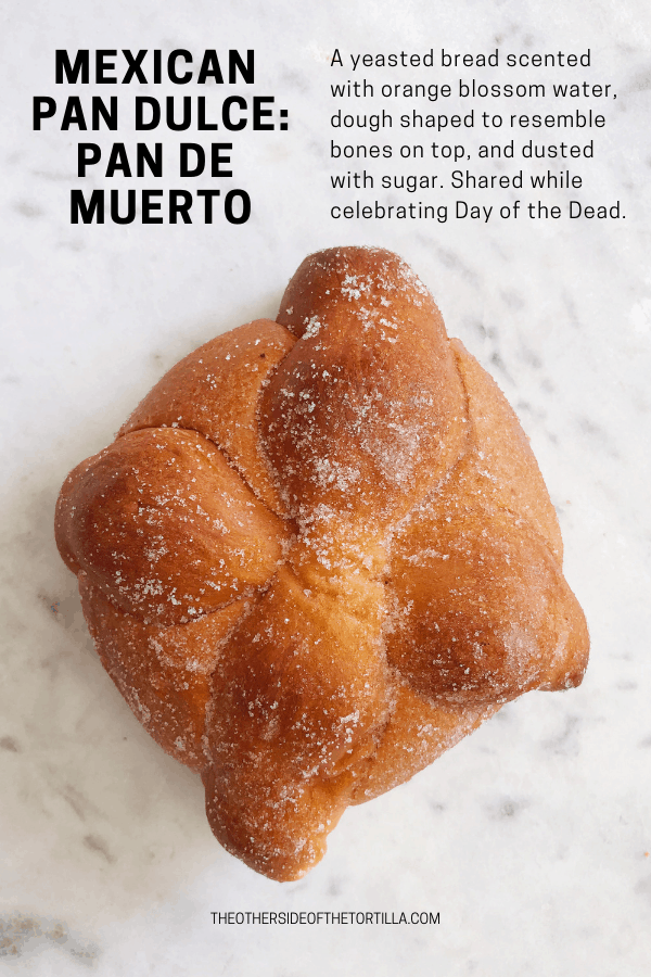Pan de muerto is a yeasted bread scented with orange blossom water, dough shaped to resemble bones on top, and dusted with sugar. Shared while celebrating Day of the Dead. More pan dulce at theothersideofthetortilla.com.