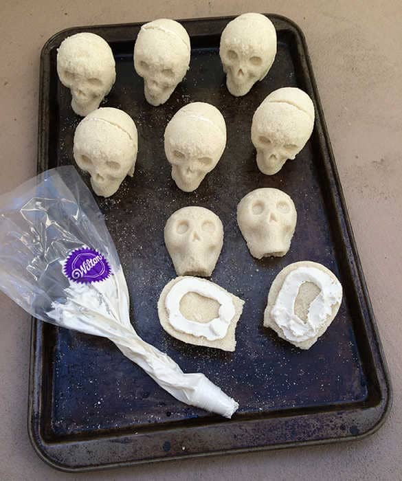 Cementing sugar skulls with royal icing