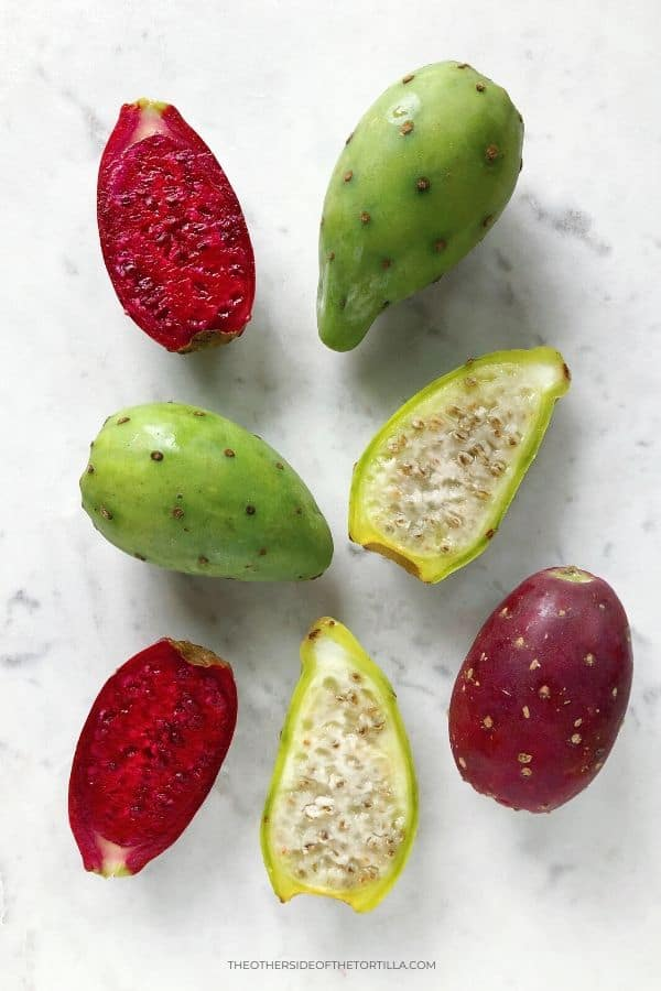 Red and green cactus fruits