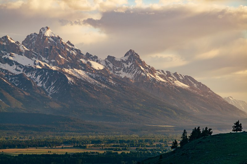 view of the Grand Tetons at sunrise
