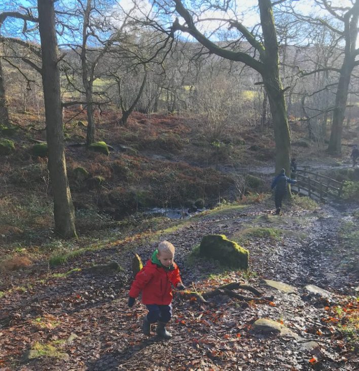 Family walk on Stanage Edge