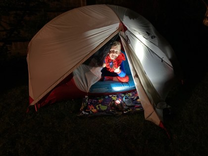 winter camping with kids