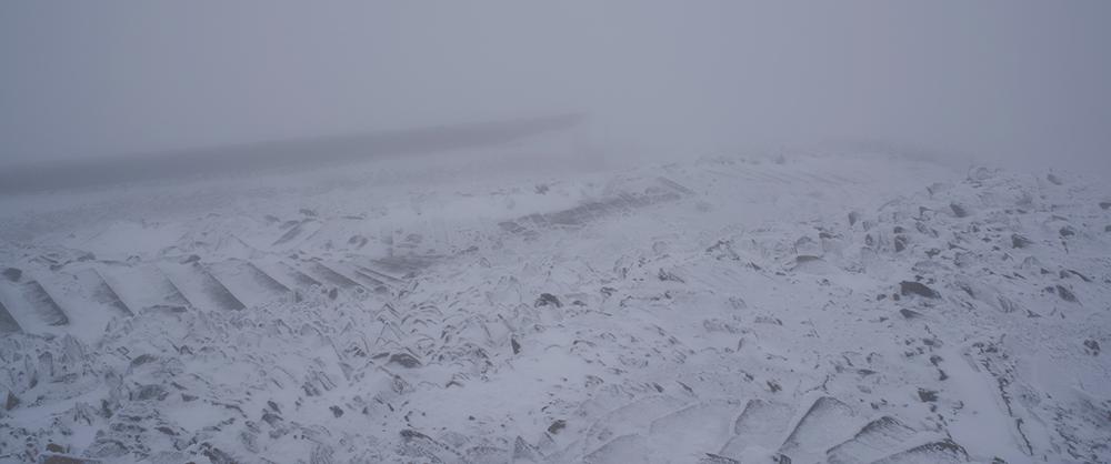 Snowdon summit in the snow