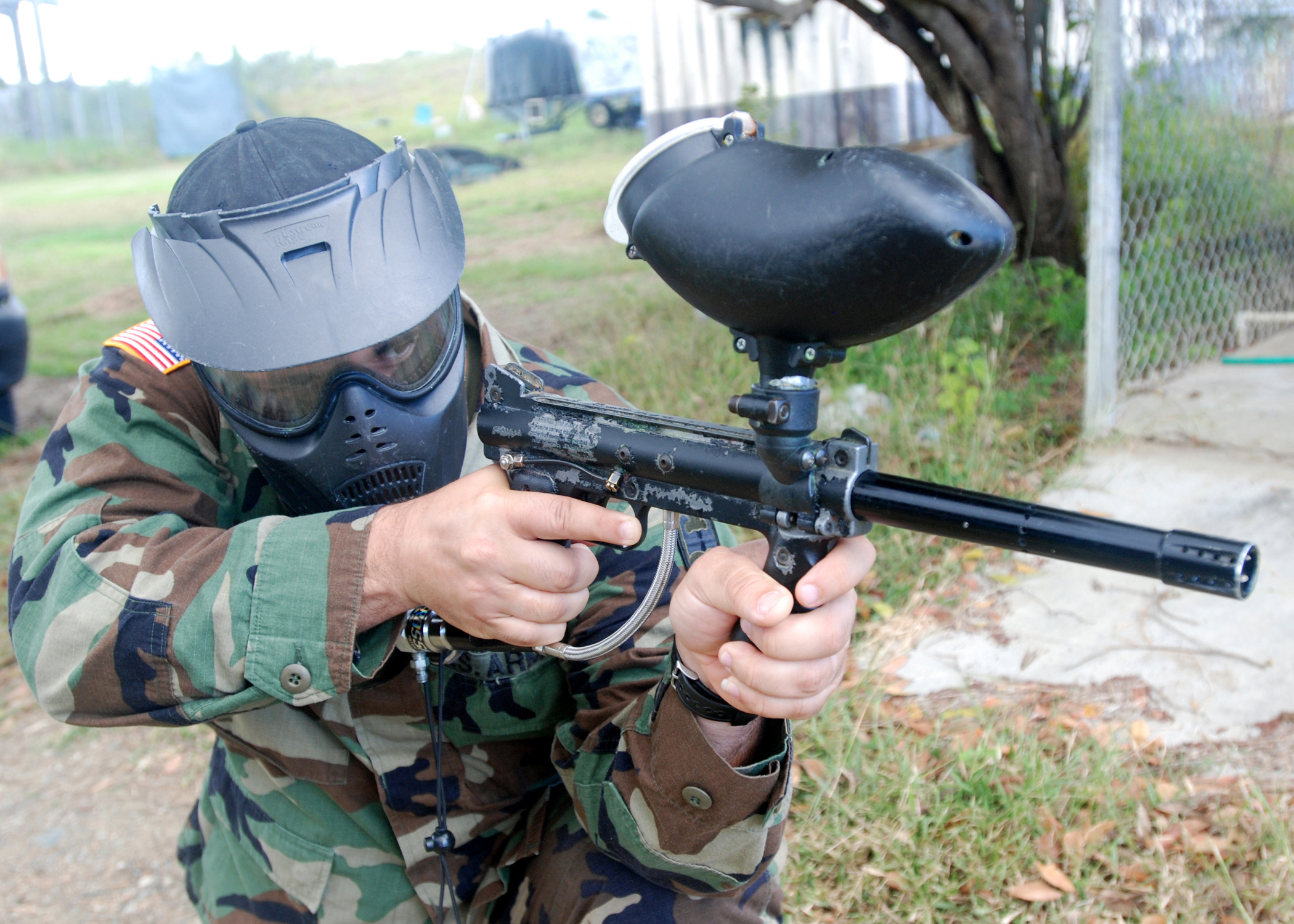 Soldier on the paintball course