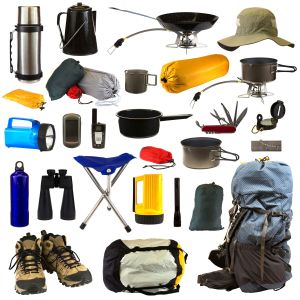 Camping gear collage isolated on white background depicting a thermos, coffee pot, frying pan sitting on stove, hat, bags of camping equipment, stainless steel mug, pot sitting on stove, blue flashlight, GPS, walkie talkie, pot, Swiss army knife, compass, blue water bottle, black binoculars, chair, yellow flashlight, black flashlight, magnesium fire starter, backpack, hiking boots, sleeping bag.