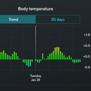 Oura Ring fitness tracker app: body temperature report